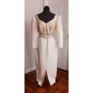 Vintage 1980s Wedding Dress Gold and Off-White